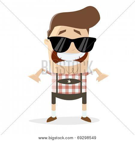 funny cartoon man in bavarian lederhosen