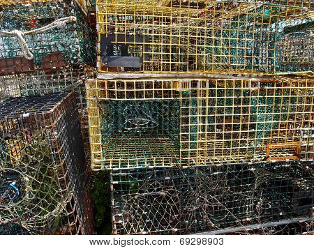 Lobster traps in fishing village of Rockport Massachusetts poster