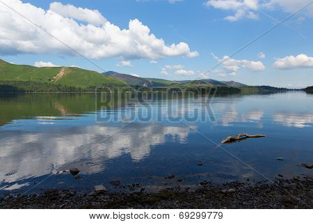 Beautiful lake Derwent Water The Lakes National Park Cumbria England uk near Keswick