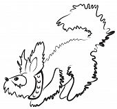 Simple monochrome fluffy dog character drawn with minimum strokes poster