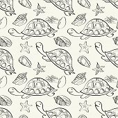 Seamless pattern, turtles, seashells, starfish and jellyfish black contours isolated on white background. Vector poster