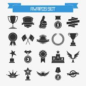 Vector set of trophies and awards for your design poster