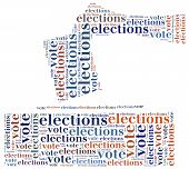Word cloud illustration related to elections or voting poster