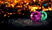 Baubles Christmas Night Bokeh Beautiful 3D Background Purple Green poster