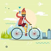 Travel Lifestyle Concept of Planning a summer Vacation Tourism and Journey Symbol Man Geek Hipster with Mobile Phone Bike Forest City Modern Flat Design Icon Template Vector Illustration poster