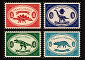 set of vector postage stamps dinosaurs and their cutting scheme poster