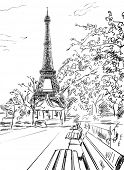 Street in paris. Eiffel tower -sketch  illustration  poster