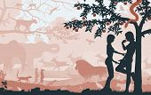 Editable vector silhouettes of Adam and Eve in the Garden of Eden with all figures as separate objects poster
