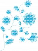 Checked swirl flowers poster