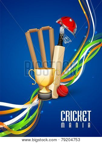 Shiny winning trophy with bat, ball, wicket stumps, helmet and national tricolor stripes on blue background for Cricket Mania.