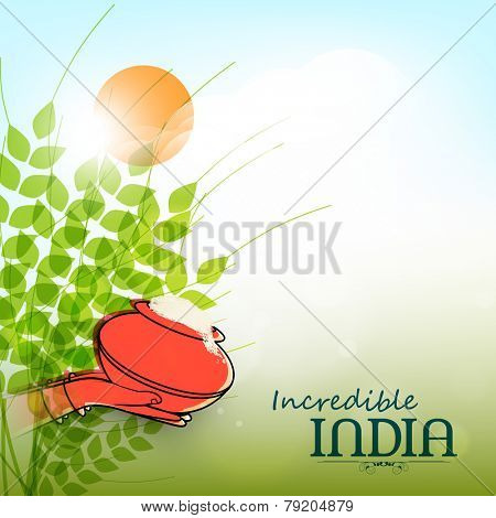 poster of Woman hands holding traditional mud pot and representing culture of Incredible India.