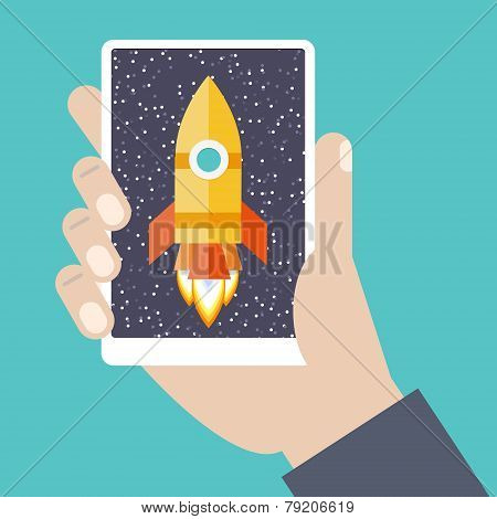 Cellphone In Hand With Spaceship