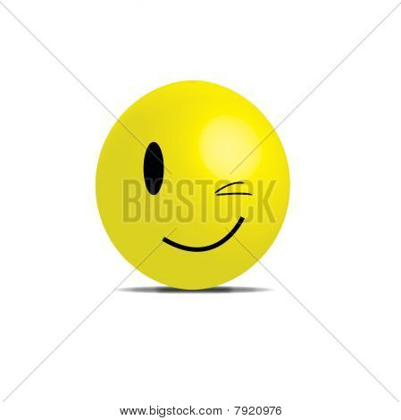 A 3d naughty smiley in yellow represents trust, love, sex, game poster