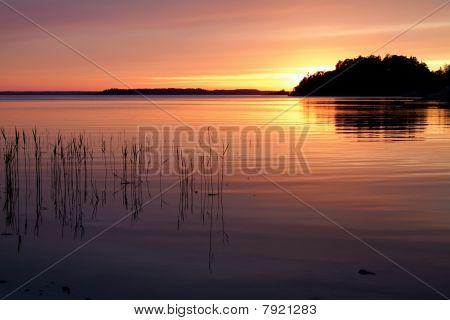 Sunset in Stockholm`s archipelago.