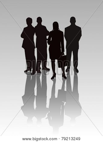 Business Team - vector silhouettes illustration