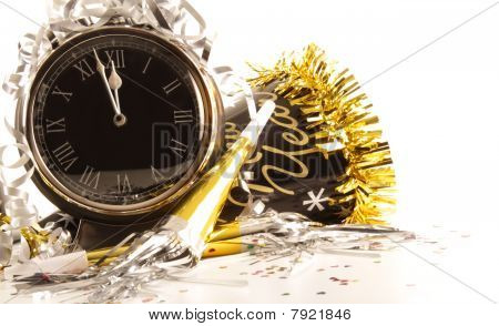 Waiting For The New Year With Clock