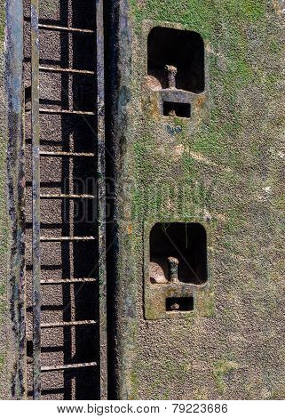 Wet ladder and slimy surface of the canal lock on Rhine Main Danube canal in Germany Europe poster