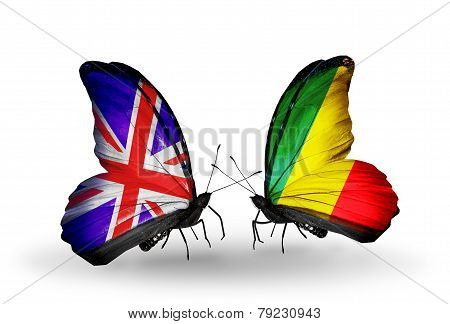 Two Butterflies With Flags On Wings As Symbol Of Relations Uk And Kongo