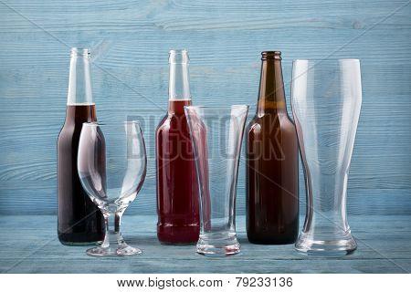 Various Types Beer And Beer Glasses