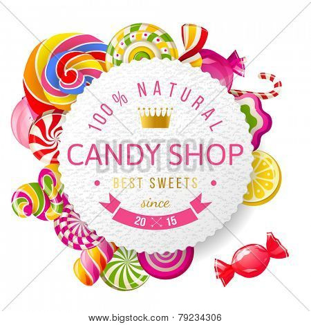 Paper candy shop label with type design and nuts