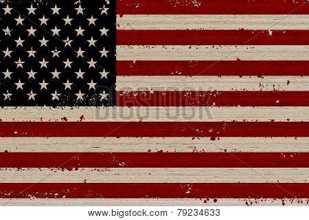 Usa Flag Wood Background