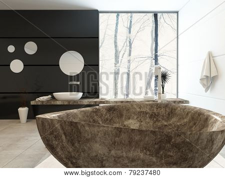 3D Rendering of Modern freestanding marbled bathtub in an elegant upmarket bathroom with a black accent wall anf floor-to-ceiling window with a view of winter trees