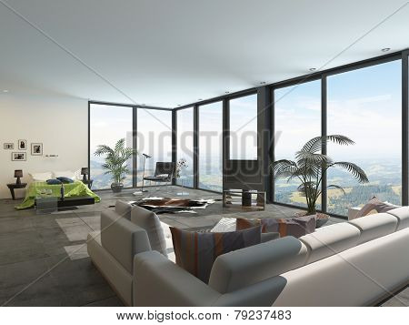 3D Rendering of Large spacious open-plan bedsit or hotel accommodation with a double bed at one end and sofa at the other overlooked by floor-to-ceiling panoramic windows poster