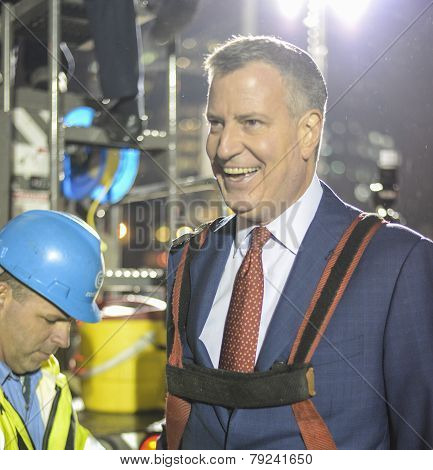Mayor Bill De Blasio in harness
