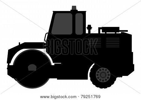 Silhouette steamroller on a white background.