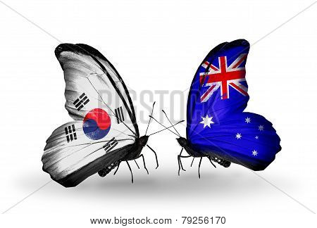 Two Butterflies With Flags On Wings As Symbol Of Relations South Korea And Australia
