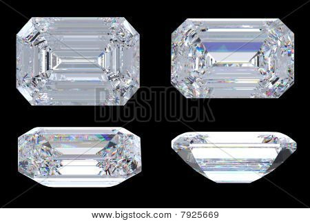 Top, Bottom And Side Views Of Emerald Diamond