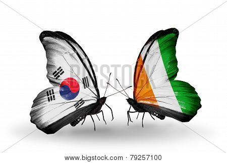 Two Butterflies With Flags On Wings As Symbol Of Relations South Korea And Cote Divoire