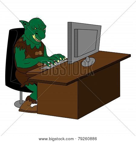 Fat Internet Troll Using A  Computer