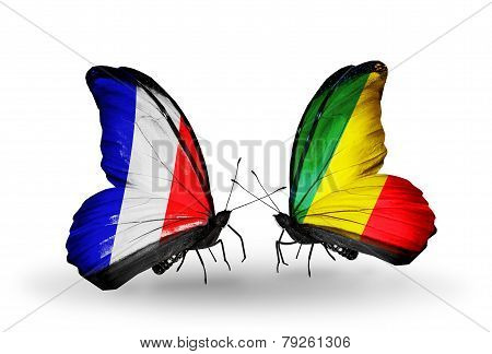 Two Butterflies With Flags On Wings As Symbol Of Relations France And Kongo