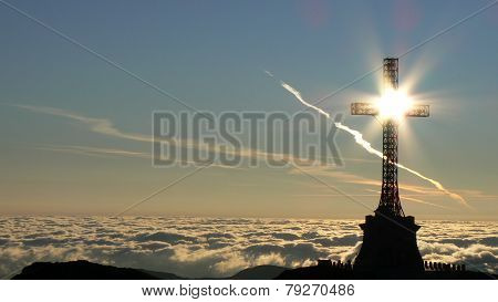 Heroes' Cross near Caraiman Peak from Bucegi Mountains in Romania
