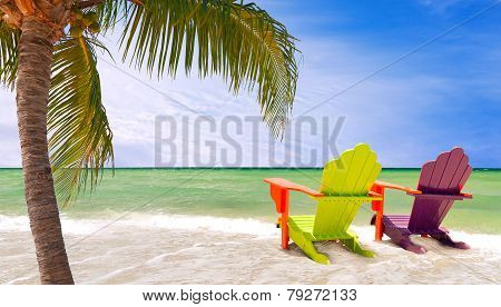 Panorama of colorful lounge chairs at a tropical paradise beach in Miami Florida. Beautiful aqua green waters of the ocean hanging palm tree branches and a blue sky in the background poster