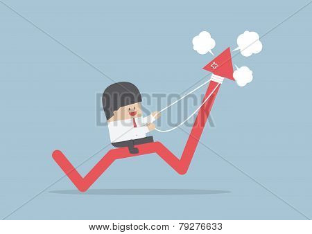 Businessman Riding On Angry Stock Market Graph