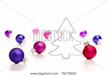 Christmas tree and baubles.