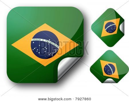 Sticker with Brazil flag