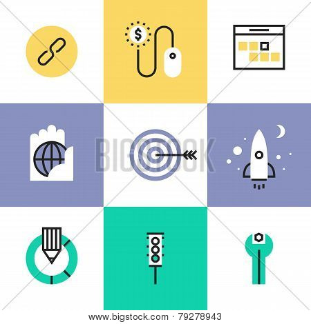 Website And Seo Development Pictogram Icons Set