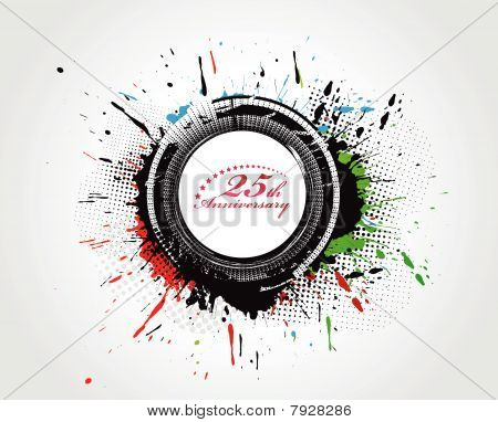 abstract grunge background with Sector art of a seal with number with laurel leaves