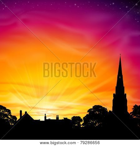 Church Spire in Silhouette with Sunset, Sunrise. Vector EPS 10