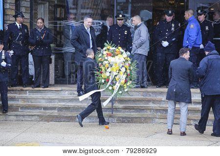 Wreath carried into Aievoli Funeral Home