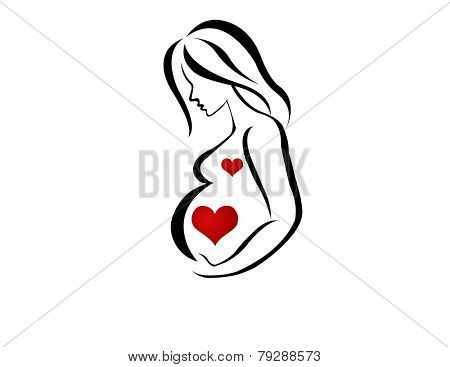 Silhouette of Pregnant with Heart