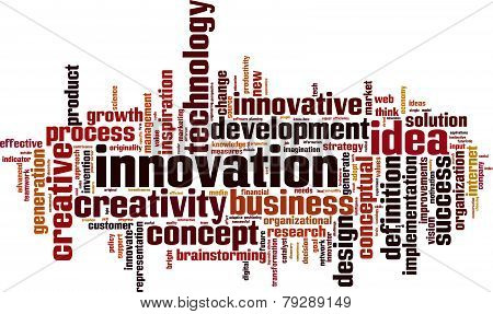 Innovation word cloud concept isolated on white poster