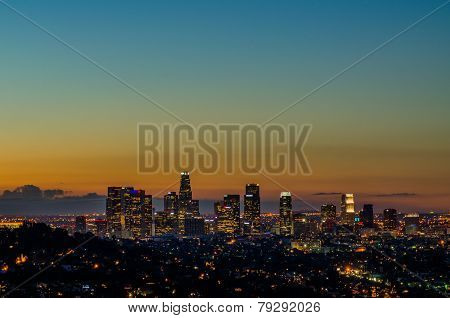 glowing downtown los angeles at sunrise