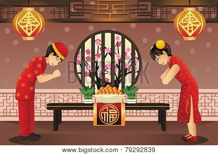 Chinese Kids Celebrating Chinese New Years