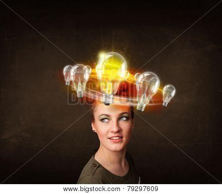 Preety woman with light bulbs circleing around her head