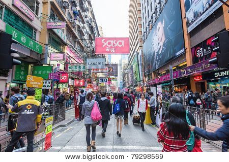 Hong Kong, China - Dec 21: Crowded Street View On December 21, 2014 In Hong Kong, China. With 7M Pop
