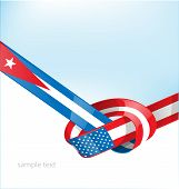 Cuba and Usa ribbon flag on background poster